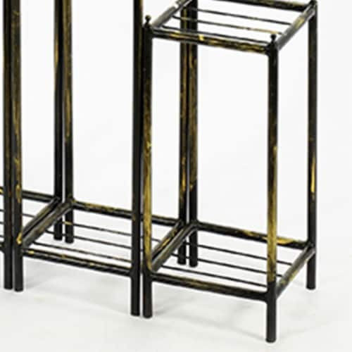 Saltoro Sherpi 2 Tier Square Slatted Top Plant Stand, Set of 3, Black and Gold Perspective: bottom