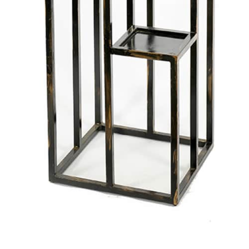 Saltoro Sherpi 4 Tier Cast Iron Frame Plant Stand with Tubular Legs, Black and Gold Perspective: bottom