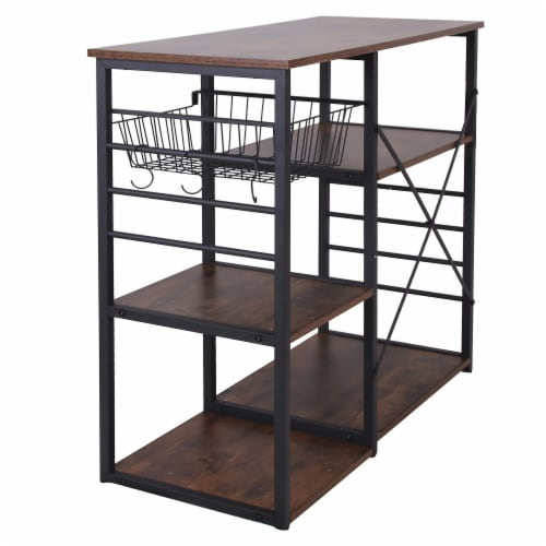 Saltoro Sherpi Wood and Metal Bakers Rack with 4 Shelves and Wire Basket, Brown and Black Perspective: bottom