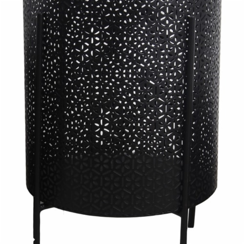 Saltoro Sherpi Metal Planters with Floral Hexagon Cut Out Design, Set of 3, Black Perspective: bottom