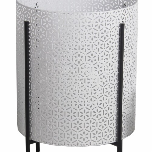 Saltoro Sherpi Metal Planters with Floral Hexagon Cut Out Design, Set of 3,White and Black Perspective: bottom