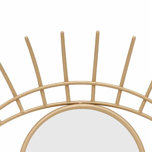 Saltoro Sherpi 32 Inch Contemporary Eye Design Metal Wall Decor with Round Mirror,Gold and Perspective: bottom