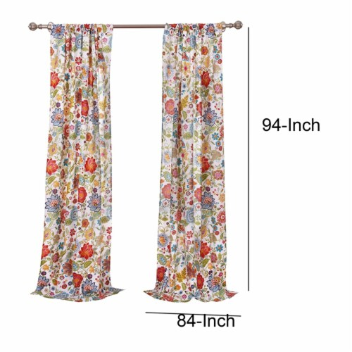 Saltoro Sherpi 4 Piece Polyester Window Panel Set with Floral Print, Large, Multicolor Perspective: bottom