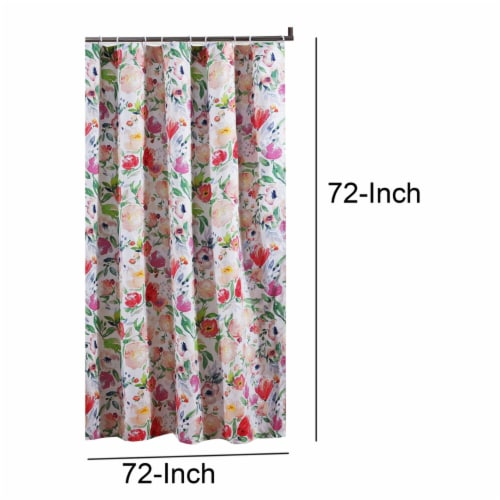 Saltoro Sherpi 72 x 72 Inches Shower Curtain with Floral Print, Multicolor Perspective: bottom