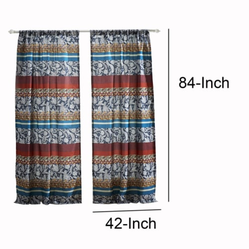 Saltoro Sherpi 4 Piece Polyester Window Panel Set with Paisley and Mosaic Print,Multicolor Perspective: bottom