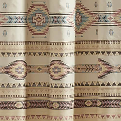 Saltoro Sherpi Polyester Panel Pair with Kilim Pattern and 2 Tie Backs, Multicolor Perspective: bottom