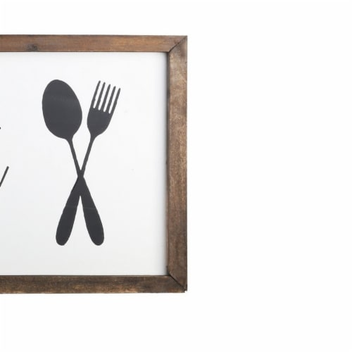 Saltoro Sherpi Wooden Wall Art with Bon Appetit Typography, Set of 2, Brown and White Perspective: bottom