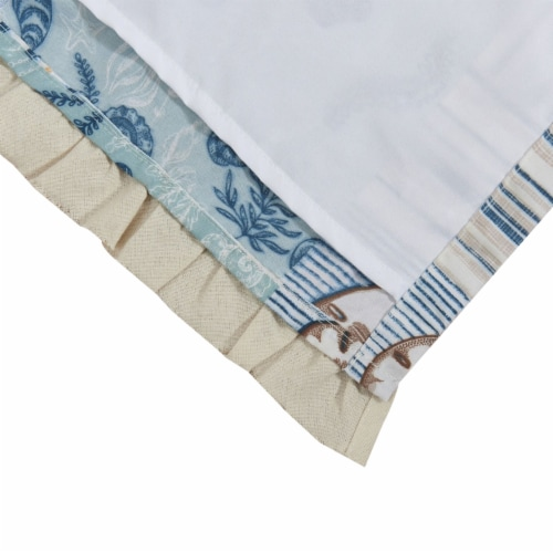 Saltoro Sherpi Sea Life Print Curtain Panel with Tie Backs, Set of 4, Blue and Brown Perspective: bottom