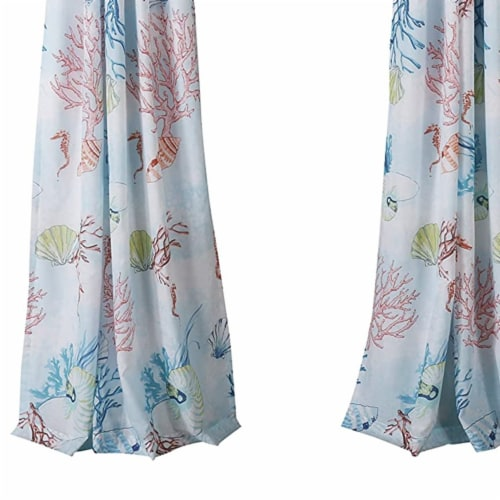 Saltoro Sherpi Polyester Panel Pair with Coral Prints and 2 Tie Backs, Multicolor Perspective: bottom
