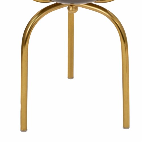 Saltoro Sherpi Round Metal Planter with Tripod Base, Silver and Gold Perspective: bottom