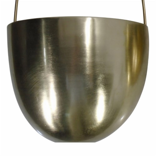 Saltoro Sherpi Oval Shape Metal Wall Planter with Attached Hanger, Set of 2, Gold Perspective: bottom
