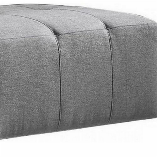 Saltoro Sherpi Fabric Upholstered Rectangular Ottoman with Button Tufting, Large, Gray Perspective: bottom