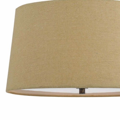 Saltoro Sherpi 3 Bulb Pendent with Round Burlap Shade and Metal Frame, Beige Perspective: bottom