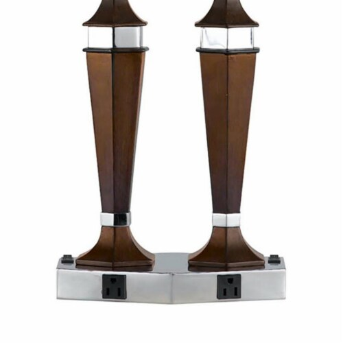 Saltoro Sherpi Wooden Pedestal Body Desk Lamp with 2 Rocker Switches, Brown and White Perspective: bottom