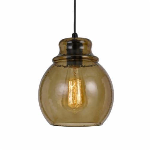 Saltoro Sherpi Round Glass Shade Pendant Lighting with Canopy and Hardwired Switch, Brown Perspective: bottom