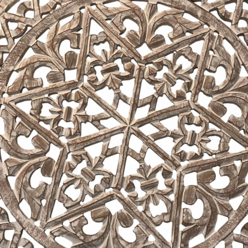 30 Inch Round Wooden Carved Wall Art with Intricate Cutouts, Distressed White ,Saltoro Sherpi Perspective: bottom