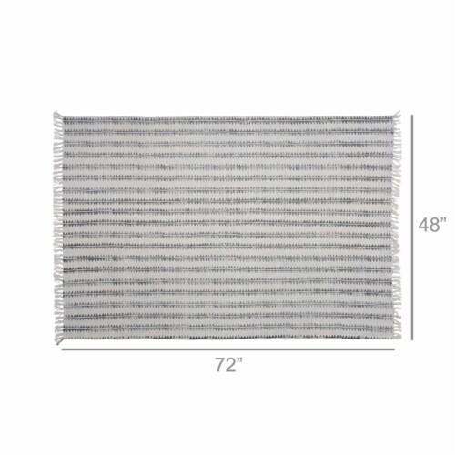 Saltoro Sherpi 4 X 6 Feet Fabric Rug with Fringes and Sawtooth Stripes, Gray and White Perspective: bottom