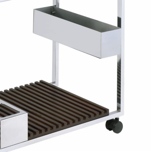 Saltoro Sherpi Metal and Wood Serving Cart with Tray and Floating Shelf, Brown and Silver Perspective: bottom