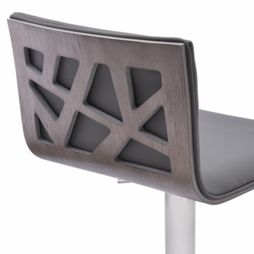 Saltoro Sherpi Leatherette Padded Barstool with Adjustable Metal Tubular Support, Gray Perspective: bottom