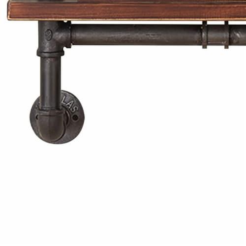 Saltoro Sherpi Pipe Design Metal Body Floating Single Wall Shelf, Gray and Brown Perspective: bottom