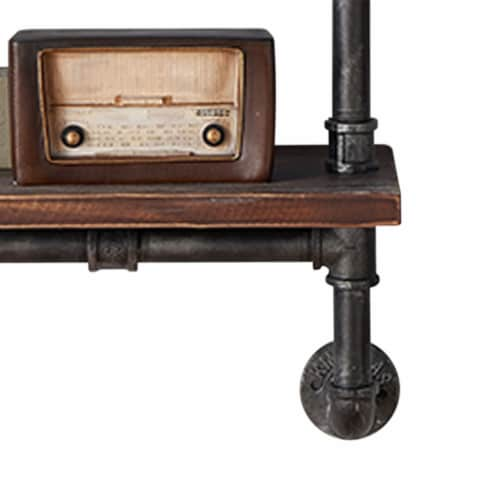 Saltoro Sherpi Metal Body Floating Three Wall Shelves with Pipe Design, Gray and Brown Perspective: bottom