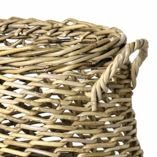 Saltoro Sherpi Rattan Open Woven Basket with Curved Handles, Set of 2, Brown Perspective: bottom