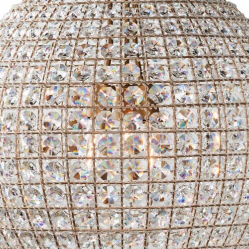 Saltoro Sherpi Metal Encased Crystal Chandelier with Engraved Details, Large, Clear and Gold Perspective: bottom