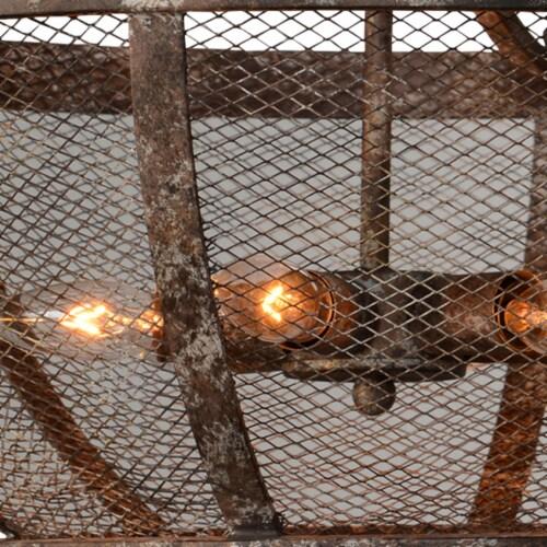 Saltoro Sherpi Metal Frame Cross Hatch Mesh Design 6 Light Chandelier, Antique Bronze Perspective: bottom