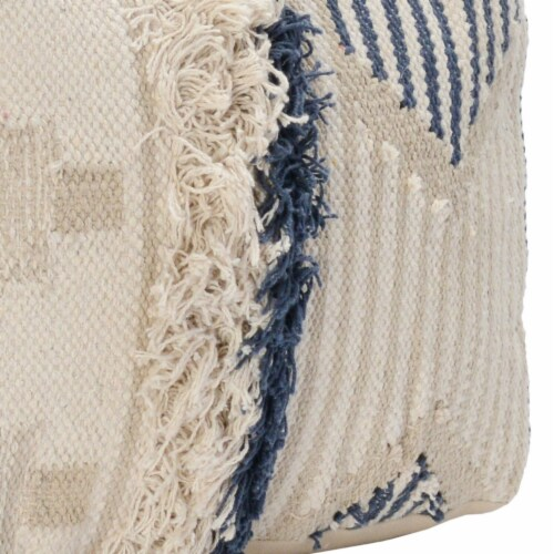Saltoro Sherpi Fabric Pouf Ottoman with Woven Design and Fringe Details, Cream and Blue Perspective: bottom