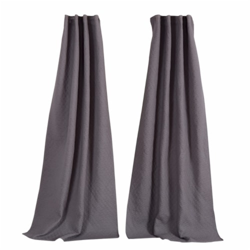 Saltoro Sherpi Bow Polyester Panel Pair with 1 Inch Header and Diamond Stitched Details, Gray Perspective: bottom
