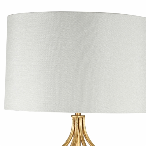 Saltoro Sherpi Metal Table Lamp with Curved Open Base and Crystal Orb, Gold Perspective: bottom