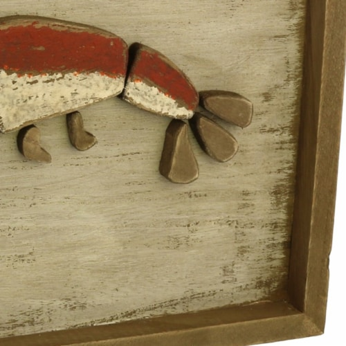 Saltoro Sherpi Rectangular Wooden Frame Lobster Wall Decor, Brown and Red Perspective: bottom