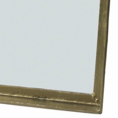 Saltoro Sherpi Rectangular Metal Mirror with Raised Frame, Brass Perspective: bottom