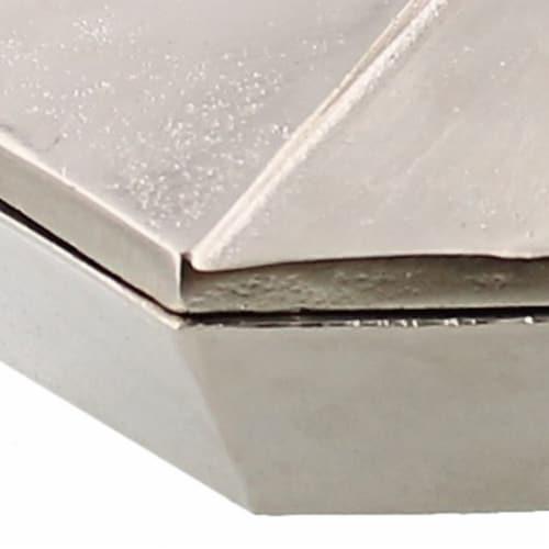 Saltoro Sherpi Metal Hexagonal Shaped Box with Lid, Small, Silver Perspective: bottom