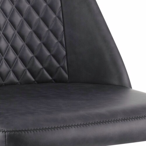 Saltoro Sherpi Diamond Pattern Stitched Leatherette Office Chair with Star Base, Gray Perspective: bottom