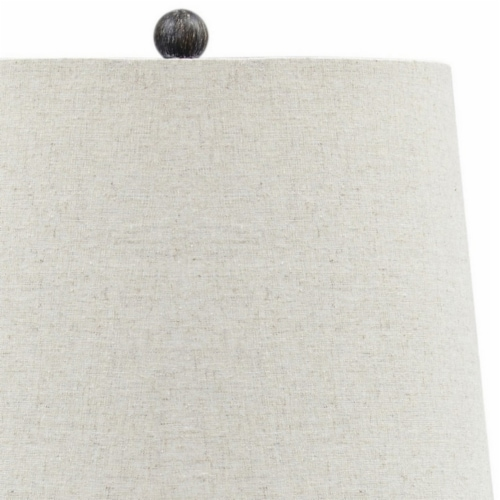 Saltoro Sherpi Polyresin Table Lamp with Turned Base, Set of 2, Brown and Off White Perspective: bottom