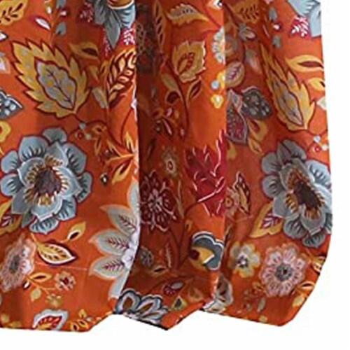 Saltoro Sherpi Paris 4 Piece Floral Print Fabric Curtain Panel with Ties, Orange Perspective: bottom