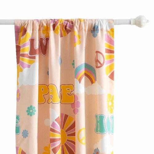 Saltoro Sherpi Dublin 4 Piece Rainbow and Cloud Print Fabric Curtain Panel with Ties, Beige Perspective: bottom