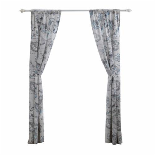 Saltoro Sherpi Madrid 4 Piece Beach Print Fabric Curtain Panel with Ties, White and Gray Perspective: bottom