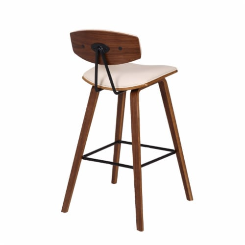 Saltoro Sherpi 28.5 Inches Contoured Seat Leatherette Barstool, Cream Perspective: bottom