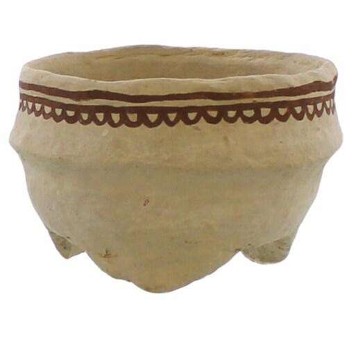 Round Bowl with Paper Mache Henna Print, Assortment of 4, Brown, Saltoro Sherpi Perspective: bottom