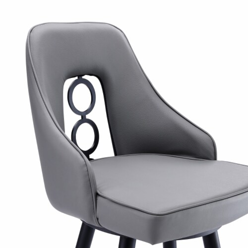 Saltoro Sherpi Faux Leather Barstool with Metal Tapered Legs, Gray and Black Perspective: bottom