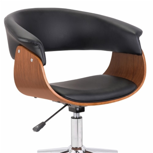 Saltoro Sherpi Curved Faux Leather Office Chair with Wooden Support and Star base, Black Perspective: bottom