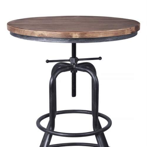 Saltoro Sherpi Metal Adjustable Height Pub Table with Round Seat, Brown Perspective: bottom
