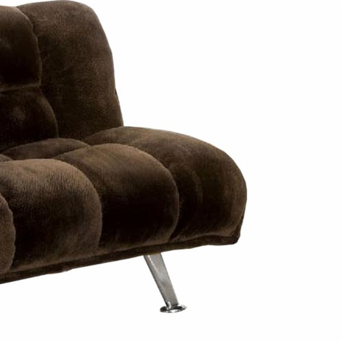 Futon Sofa with Tufted Padded Seating and Metal Legs, Brown Perspective: bottom