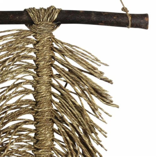 Wooden Wall Hanging with Seagrass Accent, Brown ,Saltoro Sherpi Perspective: bottom