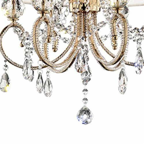 Ceiling Lamp with Crystal Accent and Baroque Style Shade, Gold Perspective: bottom