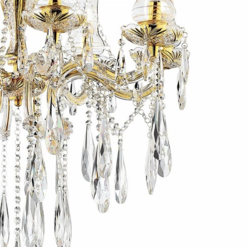 Chandelier with Crystal Accents and 8 Glass Hurricane, Gold Perspective: bottom