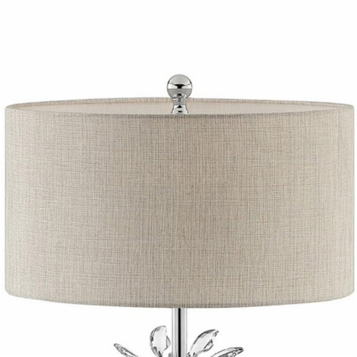 Floor Lamp with Starburst Crystal Accent, Gray and Silver Perspective: bottom