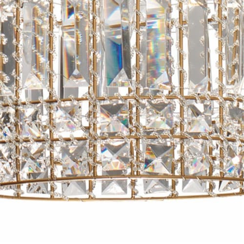 Pendant Chandelier with Dome Metal Frame and Crystal Accents, Gold ,Saltoro Sherpi Perspective: bottom